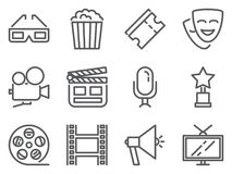 Cinema pixel perfect icons. Set of line pictograms of 3D glasses, pop corn, tickets, camera, reward, TV, film and other movie rela. Ted elements. Vector Stock Photo
