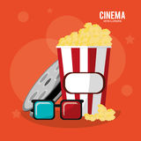 Cinema pop corn box glasses and reel film. Vector illustration eps 10 Stock Photography