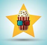 Cinema pop corn bucket 3d glasses star background Royalty Free Stock Image