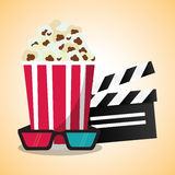 Cinema pop corn clapper and 3d glasses. Vector illustration eps 10 Stock Image