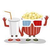 Cinema pop corn with 3d glasses and cola character friends holding hands together and waving Stock Photography