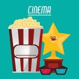 Cinema pop corn 3d glasses and trophy. Vector illustration eps 10 Stock Image