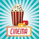 Cinema pop corn tickets blue stripes background. Vector illustration eps 10 Royalty Free Stock Images