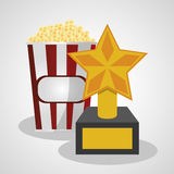 Cinema pop corn and trophy winner. Vector illustration eps 10 Royalty Free Stock Images