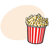 Cinema popcorn in a big red and white striped bucket. Sketch style vector illustration with place for text. Popcorn bucket, traditional cinema, movie theatre Stock Images
