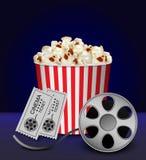 Cinema popcorn box concept background, realistic style vector illustration