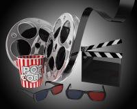 Cinema. Popcorn,3d glasses, film reel composition. 3d high quality render Stock Photos