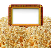 Cinema Popcorn Sign. Cinema popcorn with a blank movie marquee sign as an entertainment communication symbol for TV shows or theater performances isolated on a Stock Image