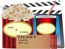 Cinema popcorn and soda. Movie ticket Stock Photography