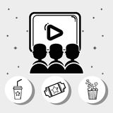 Cinema with popcorn, soda, movie and tickets. Vector illustration Royalty Free Stock Images