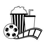 Cinema popcorn and soda reel strip movie film. Vector illustration vector illustration