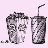 cinema popcorn and soda Stock Photo
