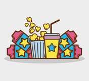 Cinema with popcorn, soda and tickets. Vector illustration Royalty Free Stock Images