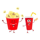 Cinema popcorn and soda water characters with smiling human faces Royalty Free Stock Image