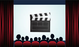 Cinema poster with audience, screen and red curtains .Vector ill. Ustration vector illustration