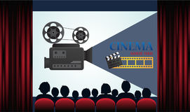 Cinema poster with audience, screen and red curtains. Vector illustration stock illustration