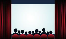 Cinema poster with audience, screen and red curtains .Vector. Illustration royalty free illustration