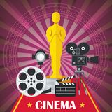 Cinema poster with award. Main award of film academy, film and chamber. Template film poster for movie theater. Cinema concept. Flat vector cartoon illustration Royalty Free Stock Photos