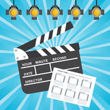 Cinema poster blue clapperboard. Bright cinema poster with clapperboard. Flat vector cartoon illustration. Objects isolated on a blue background Stock Photos