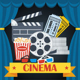 Cinema poster blue curtain. Cinema concept poster template with popcorn bowl, film strip and tickets, realistic detailed vector illustration Royalty Free Stock Photo