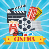Cinema poster blue popcorn. Cinema concept poster template with popcorn bowl, film strip and tickets, realistic detailed vector illustration Royalty Free Stock Image