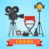 Cinema poster with camera. Director chair and searchlight, film, clapper. Template film poster for movie theater. Cinema concept. Flat vector cartoon Stock Photography