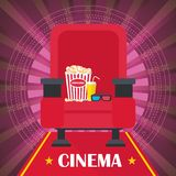 Cinema poster with chair. Armchair, popcorn and 3d glasses. Template film poster for movie theater. Cinema concept. Flat vector cartoon illustration. Objects  on Stock Image
