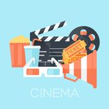 Cinema Poster with 3D Glass, Megaphone, Tickets, Bobbin, Clapper Board, Popcorn and Drink. Flat Style with Long Shadows. Royalty Free Stock Photos