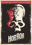 Cinema poster design for horror movies. Skull drawing on dark background. Retro vector illustration Stock Photos