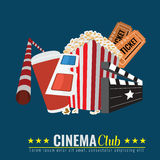 Cinema Poster with flat color style Royalty Free Stock Images