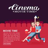 Cinema poster or movie banner template. Lettering writing. Couple people with a popcorn, soda and cinema tickets on the. Background of the red cinema seats Stock Photos