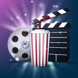 Cinema poster. Popcorn box, disposable cup for beverages with straw, film strip, ticket and clapper board. Detailed vector illustration. EPS10 file Royalty Free Stock Photography