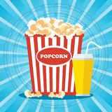 Cinema poster with popcorn. Popcorn and drink. Template film poster for movie theater. Cinema concept. Flat vector cartoon illustration. Objects isolated on a Stock Photo