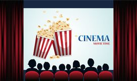 Cinema poster with popcorn, screen and red curtains. Vector illustration stock illustration