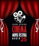 Cinema poster with Red Curtains and camera. Vector cinema festival poster with Red Curtains and projector lights. Movie background with words cinema movie Royalty Free Stock Photography