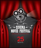 Cinema poster with Red Curtains and camera. Vector cinema festival poster with Red Curtains and projector lights. Movie background with words cinema movie Stock Photo