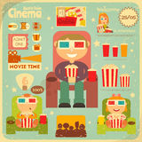 Cinema Poster. Cinema Retro Poster. Movie Collection  in Flat Cartoon Style. People Watch Movies. Vector Illustration Stock Photography