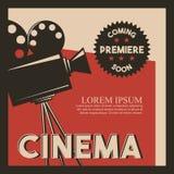 Cinema poster retro style camera film premiere. Vector illustration Stock Photo