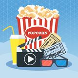 Cinema poster template. Cinema concept poster template with popcorn bowl, film strip and tickets, realistic detailed vector illustration Royalty Free Stock Image