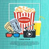 Cinema poster template. Cinema concept poster template with popcorn bowl, film strip and tickets, realistic detailed vector illustration Stock Images