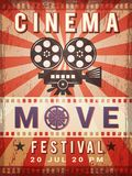 Cinema poster. Vintage design template of video and cinema production poster vector illustration