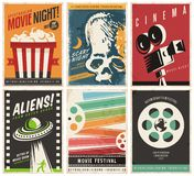 Cinema posters collection with different movie and film genres and themes. Creative retro vector design concept with six promotional pamphlets and advertises Royalty Free Stock Images