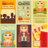 Cinema Posters Set. Cinema Mini Posters Set. Movie Collection Placards in Retro Style. People Watch Movies. Vector Illustration Stock Photos