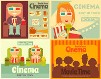 Cinema Posters Set. Movie Collection Placards in Retro Style. People Watch Movies. Vector Illustration Stock Images