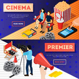 Cinema Premiere Banners Set. Cinema 3d isometric banners with conceptual images of popcorn film reel online tickets and camera operator vector illustration Stock Photography