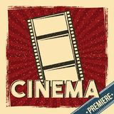 Cinema premiere festival poster retro with film strip. Vector illustration Royalty Free Stock Images