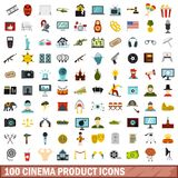 100 cinema product icons set, flat style. 100 cinema product icons set in flat style for any design vector illustration Stock Illustration