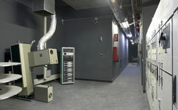 Cinema projection room with equipment. Stock Photography