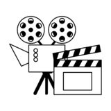 Cinema projector and clapperboard isolated icon. Vector illustration design royalty free illustration