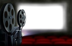 Cinema projector with empty seats Stock Image